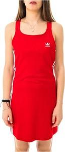Czerwona sukienka Adidas na ramiączkach z okrągłym dekoltem mini