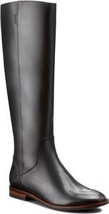 Czarne kozaki Nessi przed kolano na obcasie w stylu casual