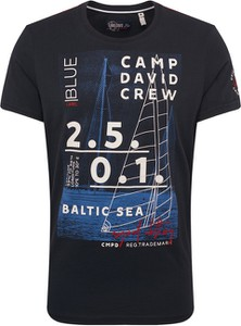 Czarny t-shirt Camp David z krótkim rękawem