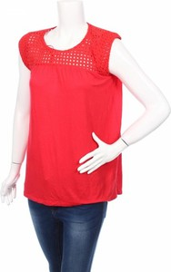 Czerwona bluzka Joseph A. z krótkim rękawem z okrągłym dekoltem