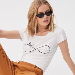 T-shirt Sinsay z okrągłym dekoltem z krótkim rękawem w stylu casual