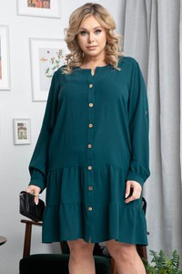 Zielona sukienka KARKO hiszpanka mini z długim rękawem