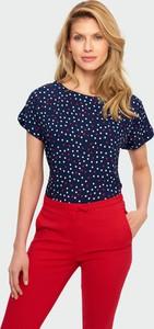 Niebieska bluzka Greenpoint z krótkim rękawem w młodzieżowym stylu z okrągłym dekoltem