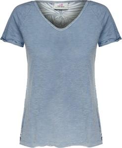 Niebieski t-shirt Deha z krótkim rękawem