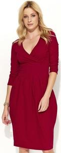 Czerwona sukienka Makadamia z bawełny z dekoltem w kształcie litery v z długim rękawem