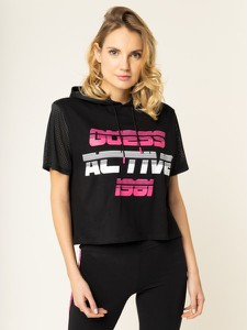 Czarna bluzka Guess w młodzieżowym stylu z krótkim rękawem