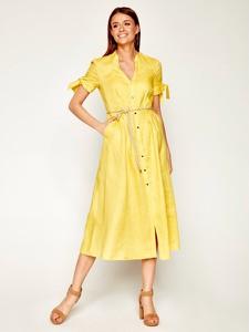 Żółta sukienka Pennyblack z dekoltem w kształcie litery v z krótkim rękawem