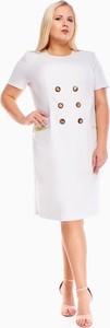Sukienka Fokus z lnu z krótkim rękawem midi