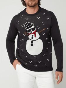 Sweter Only & Sons z okrągłym dekoltem w bożonarodzeniowy wzór w młodzieżowym stylu