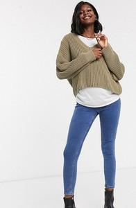 Topshop Maternity Joni – Obcisłe jeansy na brzuch z efektem sprania-Niebieski