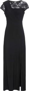 Czarna sukienka bonprix BODYFLIRT maxi z krótkim rękawem z okrągłym dekoltem