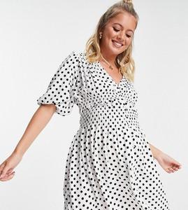 ASOS DESIGN Maternity – Biała zabudowana sukienka mini z marszczeniem i nadrukiem w czarne groszki-Wielokolorowy
