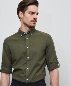Zielona koszula Reserved z długim rękawem z bawełny
