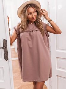 Różowa sukienka SELFIEROOM oversize z krótkim rękawem z bawełny