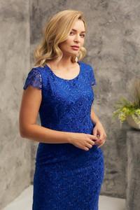Niebieska sukienka Risca mini z tkaniny dla puszystych
