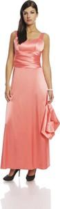 Różowa sukienka Fokus maxi z satyny