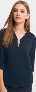 Niebieska bluzka ORSAY z tkaniny z długim rękawem