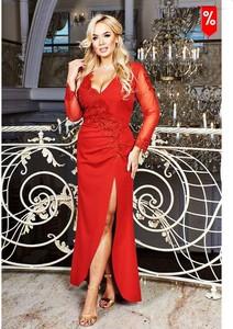 Czerwona sukienka Bosca z dekoltem w kształcie litery v z długim rękawem