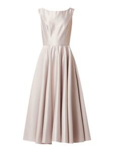 Sukienka Swing z satyny z okrągłym dekoltem