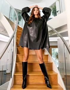 Czarna sukienka Asos mini z długim rękawem