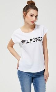 T-shirt Moodo w młodzieżowym stylu z okrągłym dekoltem