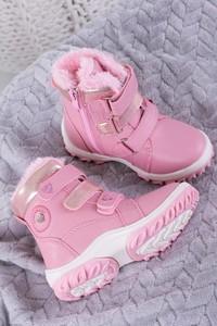 Różowe buty dziecięce zimowe Casu na rzepy