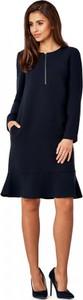 Granatowa sukienka POTIS & VERSO trapezowa z długim rękawem w stylu casual