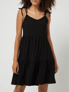 Czarna sukienka Tom Tailor Denim z dekoltem w kształcie litery v na ramiączkach