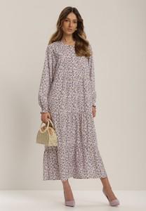 Fioletowa sukienka Renee z długim rękawem