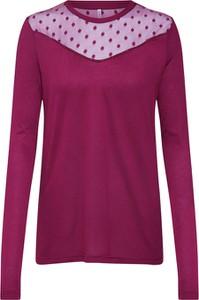 Czerwona bluzka Only z długim rękawem z okrągłym dekoltem z tkaniny