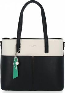 Czarna torebka David Jones w stylu glamour na ramię duża
