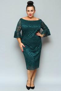 Sukienka KARKO ołówkowa z okrągłym dekoltem z długim rękawem