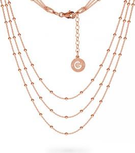 GIORRE POTRÓJNY NASZYJNIK ŁAŃCUSZEK CHOKER BAZA DO CHARMSÓW SREBRO 925 : Długość (cm) - 38 + 42 + 45 + 5, Kolor pokrycia srebra - Pokrycie Różowym 18K Złotem