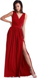 Czerwona sukienka Ivon z tkaniny z dekoltem w kształcie litery v maxi