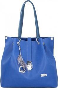 Niebieska torebka Chiara Design na ramię w stylu casual duża