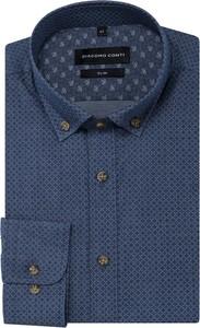 Niebieska koszula Giacomo Conti z kołnierzykiem button down z bawełny