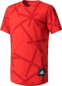 Czerwona koszulka dziecięca Adidas z bawełny