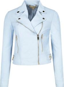 Niebieska kurtka Michael Kors krótka w stylu casual ze skóry