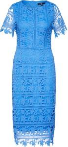 Niebieska sukienka Missguided z okrągłym dekoltem z krótkim rękawem midi