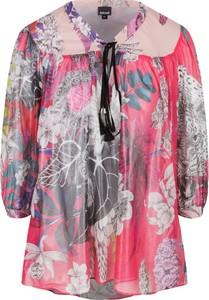Bluzka Just Cavalli ze sznurowanym dekoltem z długim rękawem z jedwabiu