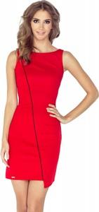 Czerwona sukienka MORIMIA bez rękawów z dekoltem w łódkę