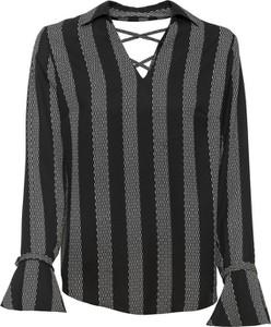 Czarna bluzka bonprix RAINBOW z dekoltem w kształcie litery v w stylu casual