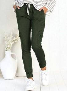 Zielone spodnie Cikelly z bawełny