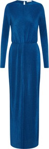 Niebieska sukienka Samsøe & Samsøe maxi z okrągłym dekoltem