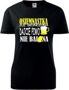 Czarny t-shirt TopKoszulki.pl z krótkim rękawem z okrągłym dekoltem