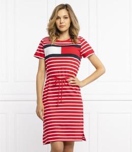 Sukienka Tommy Hilfiger z krótkim rękawem z okrągłym dekoltem w stylu casual