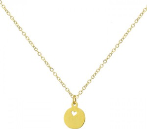 Manoki Złoty naszyjnik damski, medalik z serduszkiem