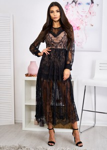 Sukienka Ligari Dresses z dekoltem w kształcie litery v z długim rękawem maxi