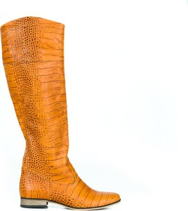 Pomarańczowe kozaki Zapato z nubuku