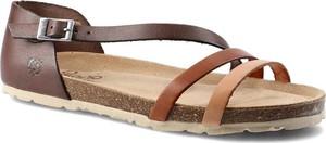 Brązowe sandały Yokono z klamrami w stylu casual ze skóry